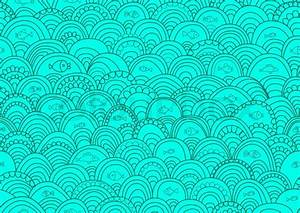 Abstract hand-drawing Seamless pattern with fish and waves