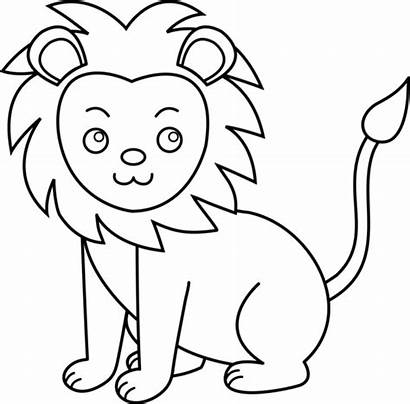 Lion Line Clip Lineart Middle Sweetclipart
