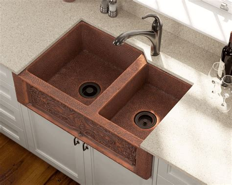 copper kitchen sink 911 offset bowl copper apron sink 2581