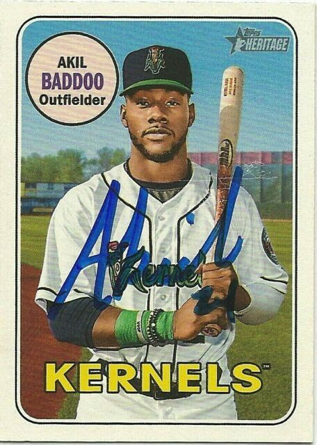 2018 Topps Heritage Minors Signed Akil Baddoo #41 ...