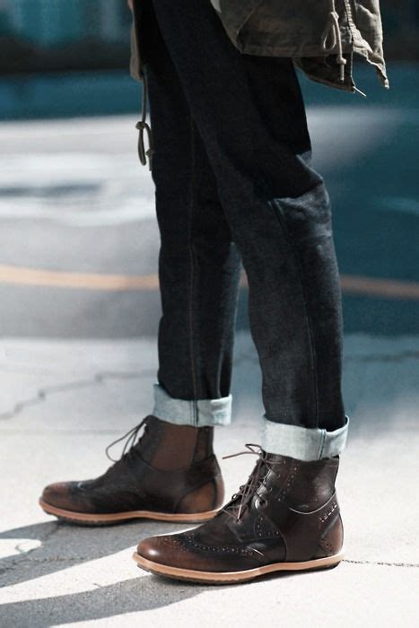 Brown Leather Boots With Rolled Jeans The Perfect Look