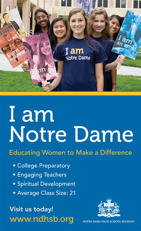 marketing school notre dame high school marketing collateral on behance