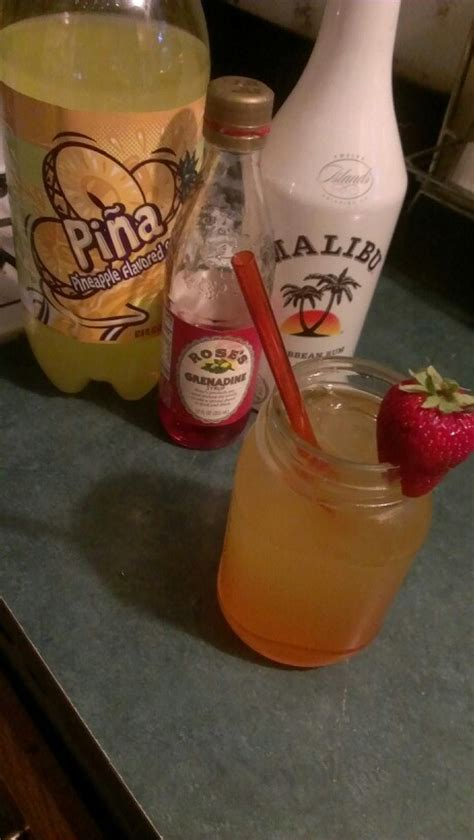 easy mix drinks a cheap and easy drink pineapple flavored soda wal mart malibu and a shot of grenadine mix