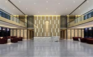 Minimalist interior decoration hotel lobby