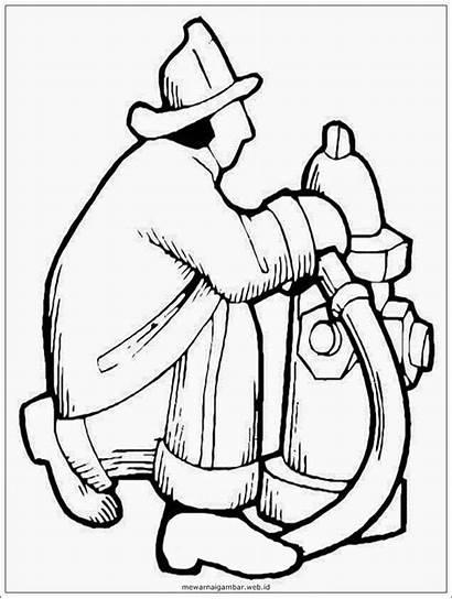 Gambar Hitam Pemadam Kebakaran Sketsa Putih Mewarnai