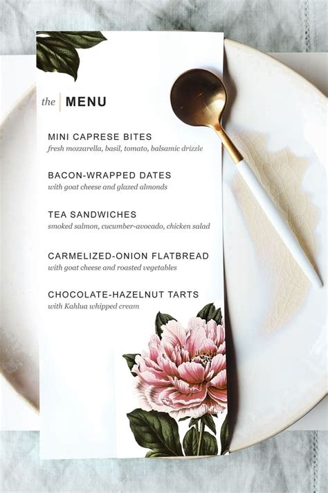 printable dinner party menu template party planning