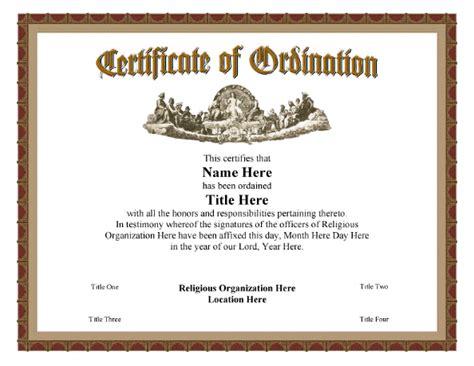 certificate  ordination vintage