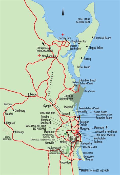 fraser coast sunshine coast map queensland australia