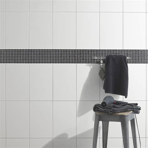 frise faience cuisine faïence mur blanc basic l 25 x l 40 cm leroy merlin
