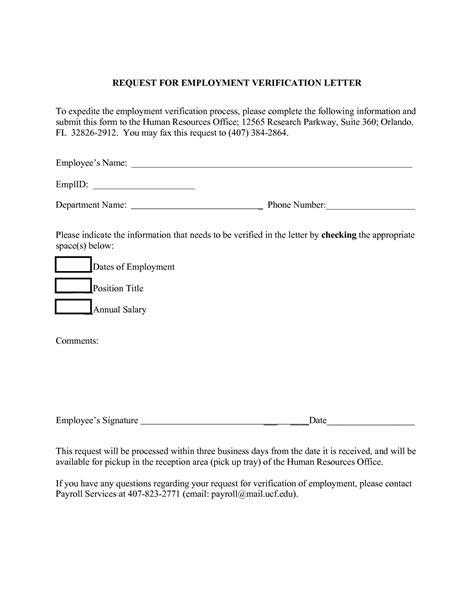 top  employment verification letter form template