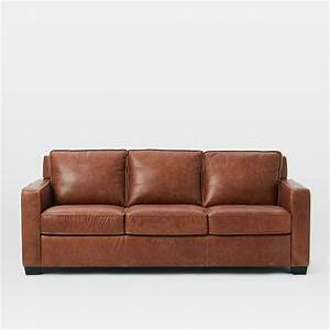 henryr leather sofa tobacco west elm With henry leather sectional sofa