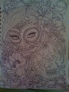 Day of Dead Sugar Skull Girl Drawing