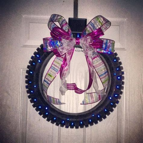 motorcycle tire wreath harley davidson pinterest