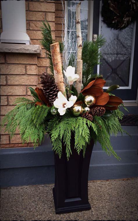 outdoor christmas floral arrangement   home