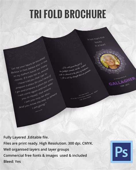 Free Invitation Trifold Brochure For Funeral In Psd By 31 Funeral Program Templates Free Word Pdf Psd