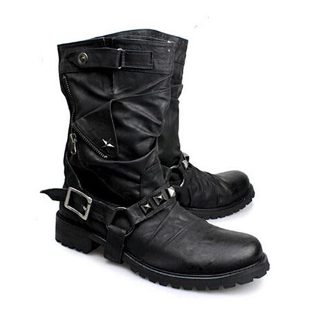 buckle motorcycle boots british new style retro leather motorcycle boots rivets