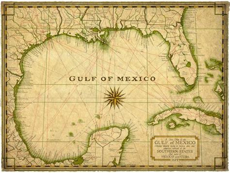 gulf  mexico map art     map  etsy