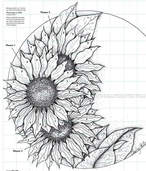 relief carving patterns sunflower clock woodarchivist