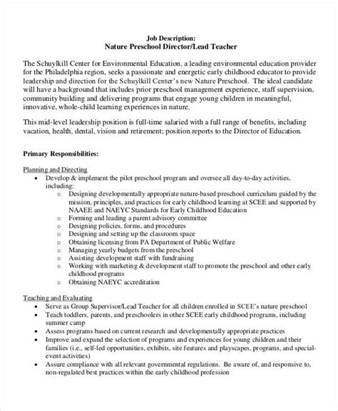 preschool director qualifications 10 preschool descriptions in pdf free 236