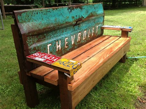 cool bench ideas kathi s garden art rust n stuff team building garden bench with an old tailgate