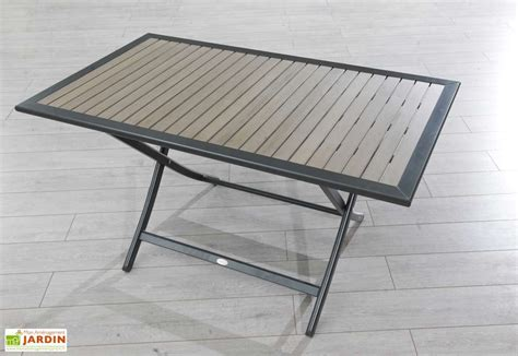 table jardin pliante bois composite et aluminium 140x80