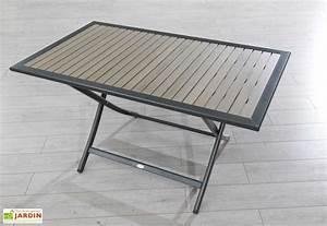 Table Pliante Metal : table jardin pliante bois composite et aluminium 140x80 ~ Teatrodelosmanantiales.com Idées de Décoration