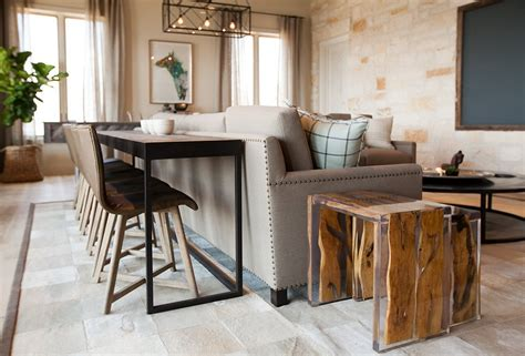 sofa table and stools redefining the sofa table add chairs apartment therapy