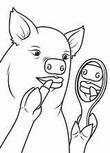Pig Outline Lipstick Coloring Drawing Pages Head Template Deer Getdrawings Printable Popular sketch template