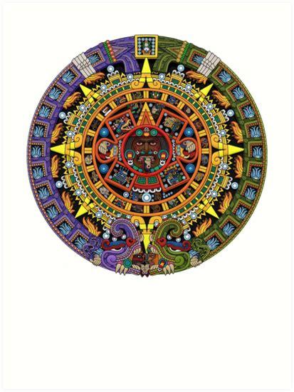 aztec colors quot aztec calendar sun color quot prints by