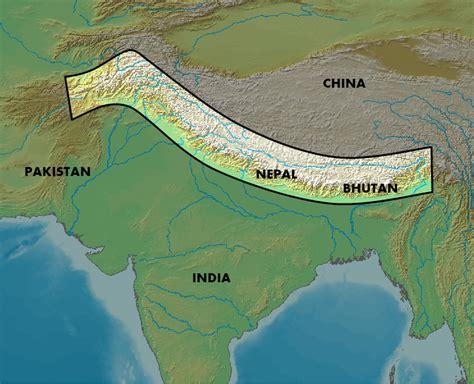 map of himalayan ranges western himalaya
