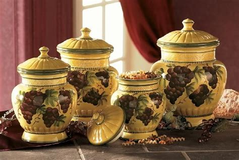 tuscany grape decor for kitchen tuscan canister sets tuscany grapes 4pc canisters kitchen