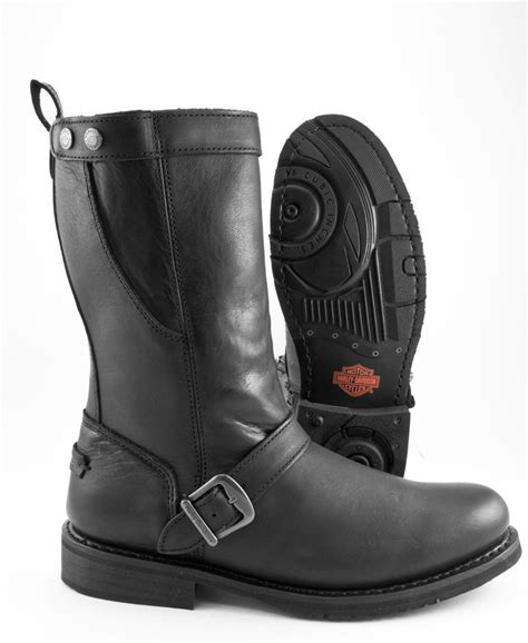 zipper motorcycle boots harley davidson vincent 11 quot black leather motorcycle boot