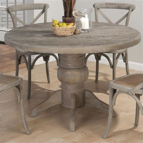 solid oak farmhouse dining table jofran round solid oak dining table in burnt grey