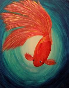 Gold FISH - Original Acrylic painting on canvas - fine ...