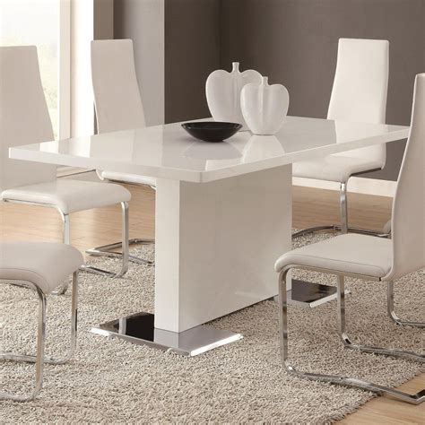 amazoncom glossy white contemporary dining table