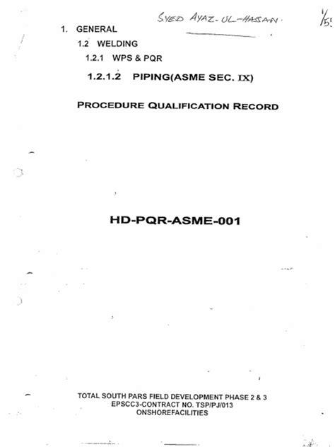 ASME IX WPS,PQR