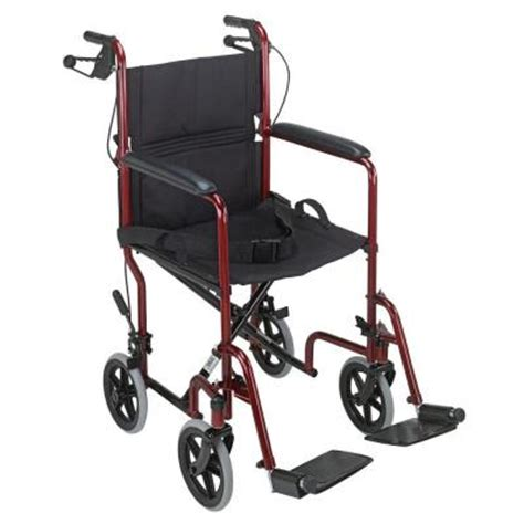 dmi 19 in folding steel transport wheelchair with