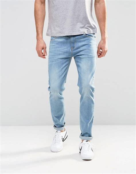 light blue jeans mens slim fit asos asos stretch slim jeans in light blue wash