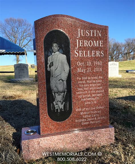 sellers granite headstone with custom etched panel by