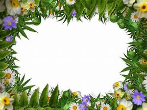 Flower Frame Border PNG With Green Leaves Background ...