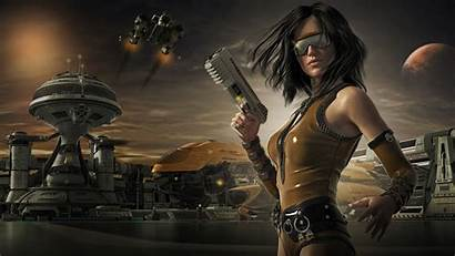 Gun Guns Wallpapers Warrior Woman Fantasy Sunglasses
