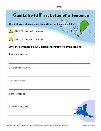 kindergarten capitalization worksheet  letter