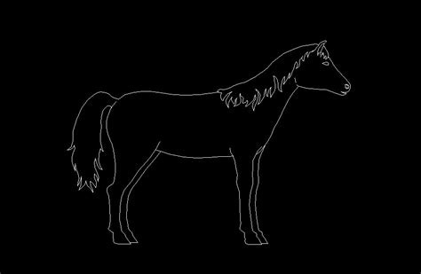 horse standing animal side view elevation  dwg block