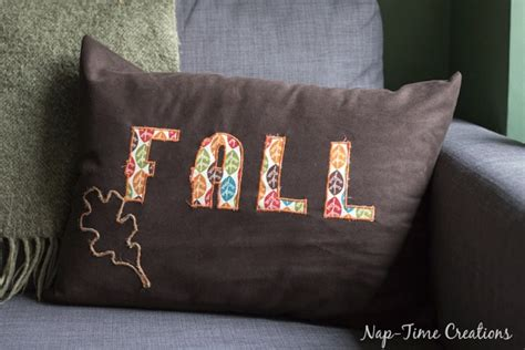 tutorial fall pillow  satin stitch applique sewing