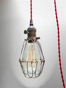 Industrial brass patina cage light edison pendant