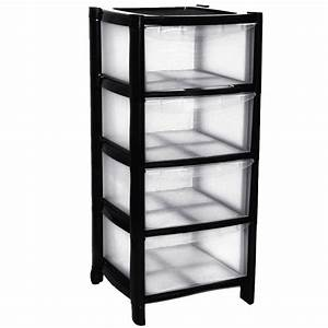 4, Drawer, Plastic, Large, Tower, Storage, Drawers, Chest, Organiser, Unit, With, Wheels