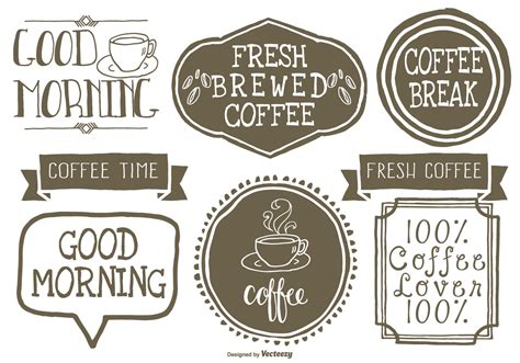 These free svg coffee cup templates are great to use by. Cute Hand Drawn Style Coffee Lables - Download Free Vectors, Clipart Graphics & Vector Art