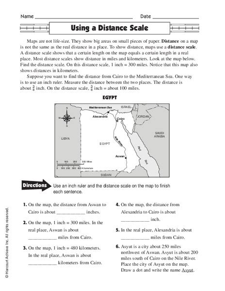 all worksheets 187 calculating distance using map scale