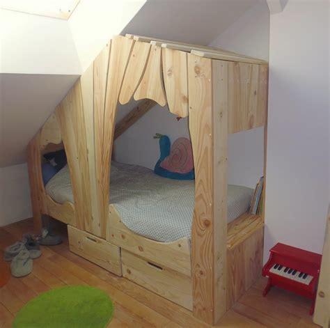 chambre de princesse fille lit cabane en bois sur mesure pour enfant abra ma cabane