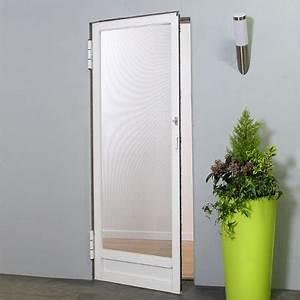 Moustiquaire Porte D Entrée : moustiquaire porte battante recoupable moustikit en aluminium avec toile fibre de verre ~ Melissatoandfro.com Idées de Décoration